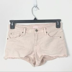 7 For All Mankind Pink Raw Hem Mid Rise Shorts